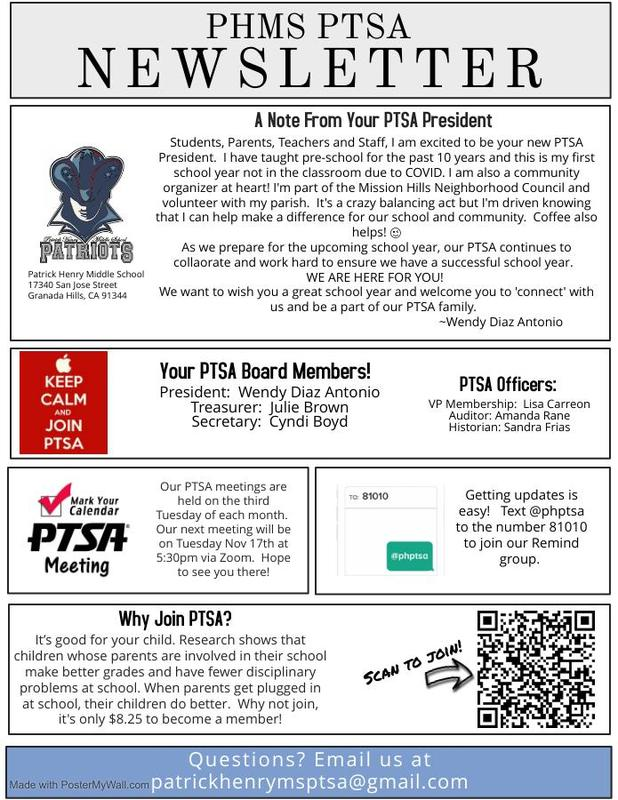 PTSA Monthly Newsletter Featured Photo