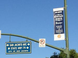San Jacinto Heritage Month Light Pole Banner for Soboba.