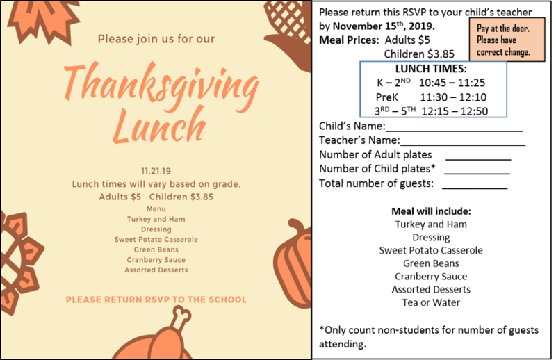 Thanksgiving Luncheon RSVP due by November 15th. Thumbnail Image