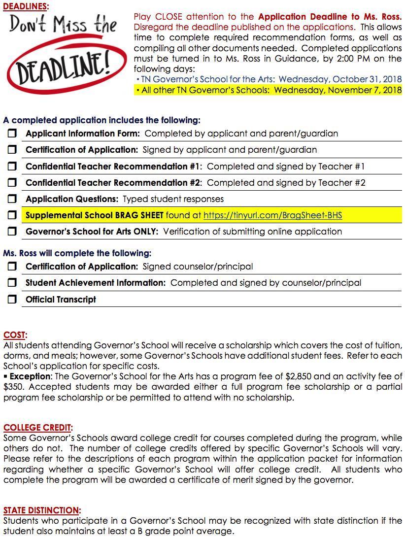 Governor's School – Guidance Department – Bartlett High School