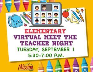 Virtual Meet the teacher night flyer with times