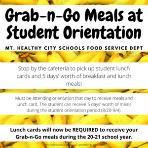 meals during orientations graphic