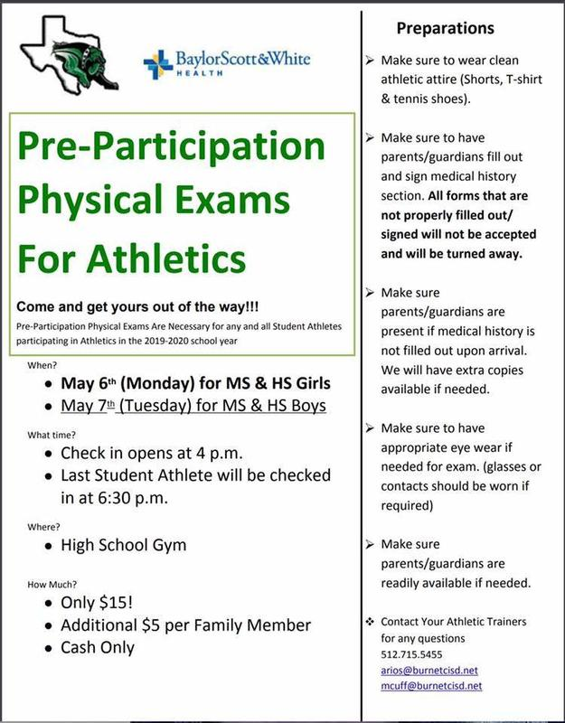 Pre-Participation Physical Exams Available Thumbnail Image