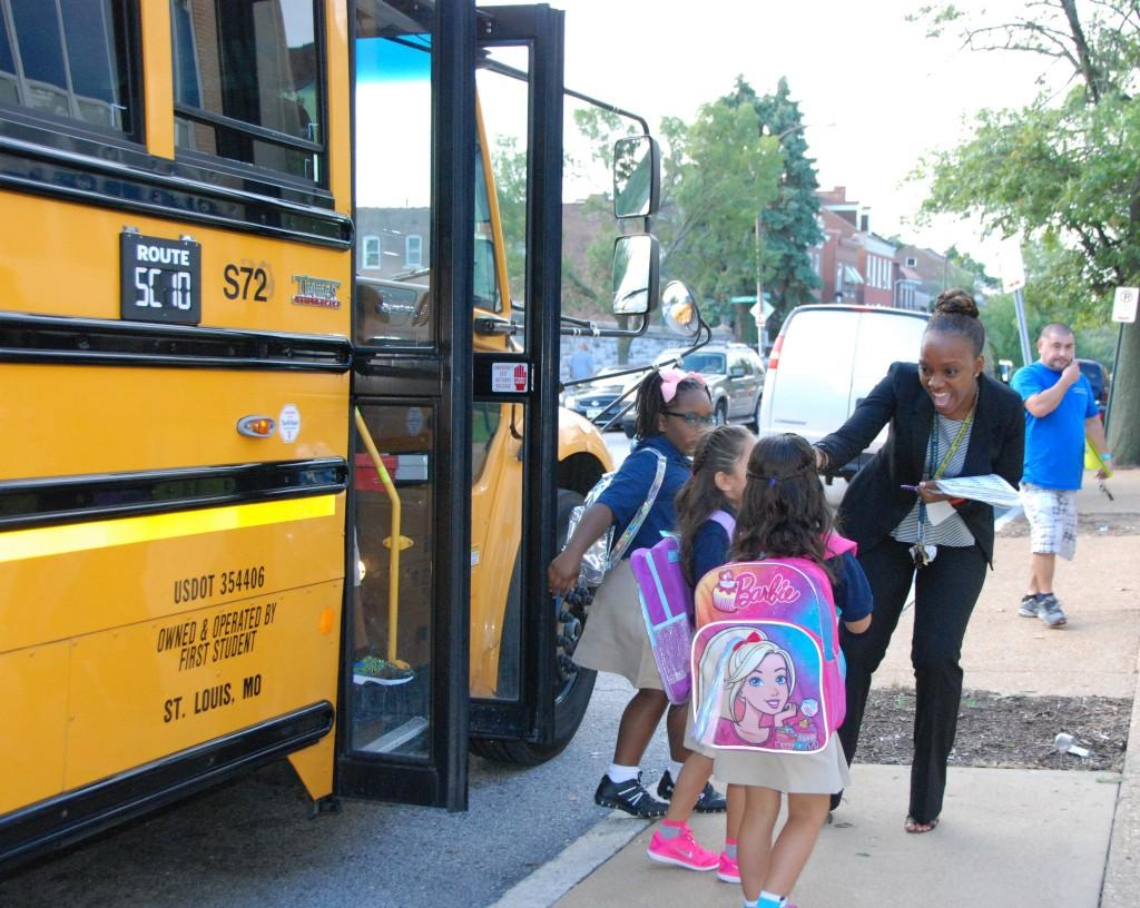Off the bus, first day of school, 2016-17