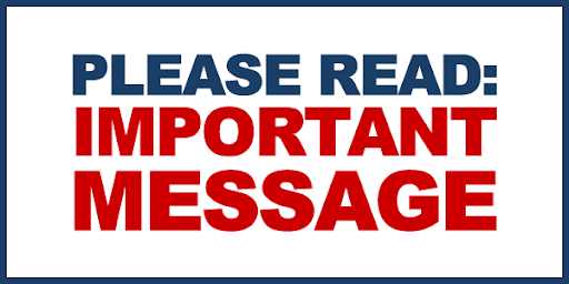 Image that reads Please Read, Important Message - no link