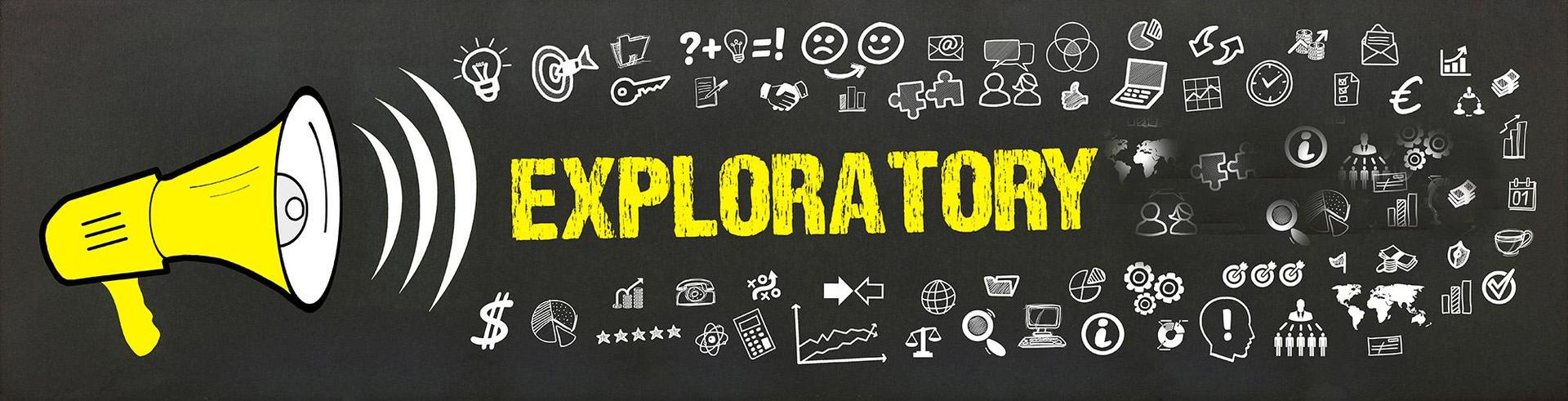"Design concept, a megaphone saying the word ""exploratory"" with various icons"