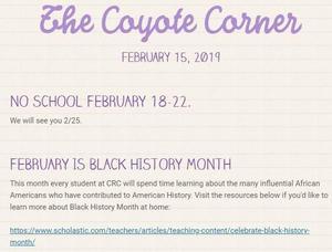 Screenshot of 2-15 newsletter