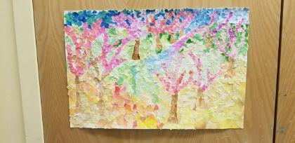 Colorful drawing of trees with pink leaves