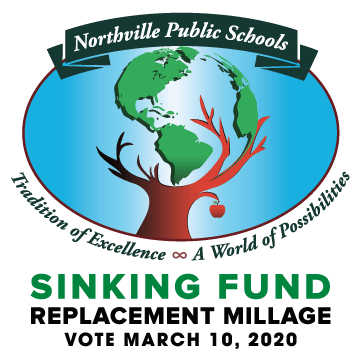 Northville Schools globe logo with March 2020 Sinking Fund Replacement Millage, Vot March 10, 2020