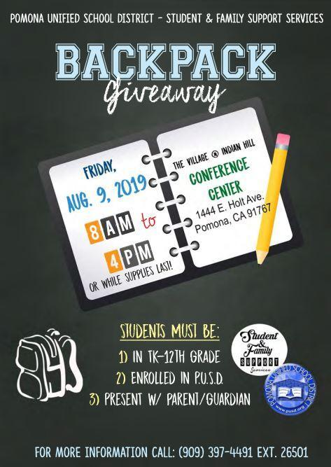 PUSD Backpack Giveaway