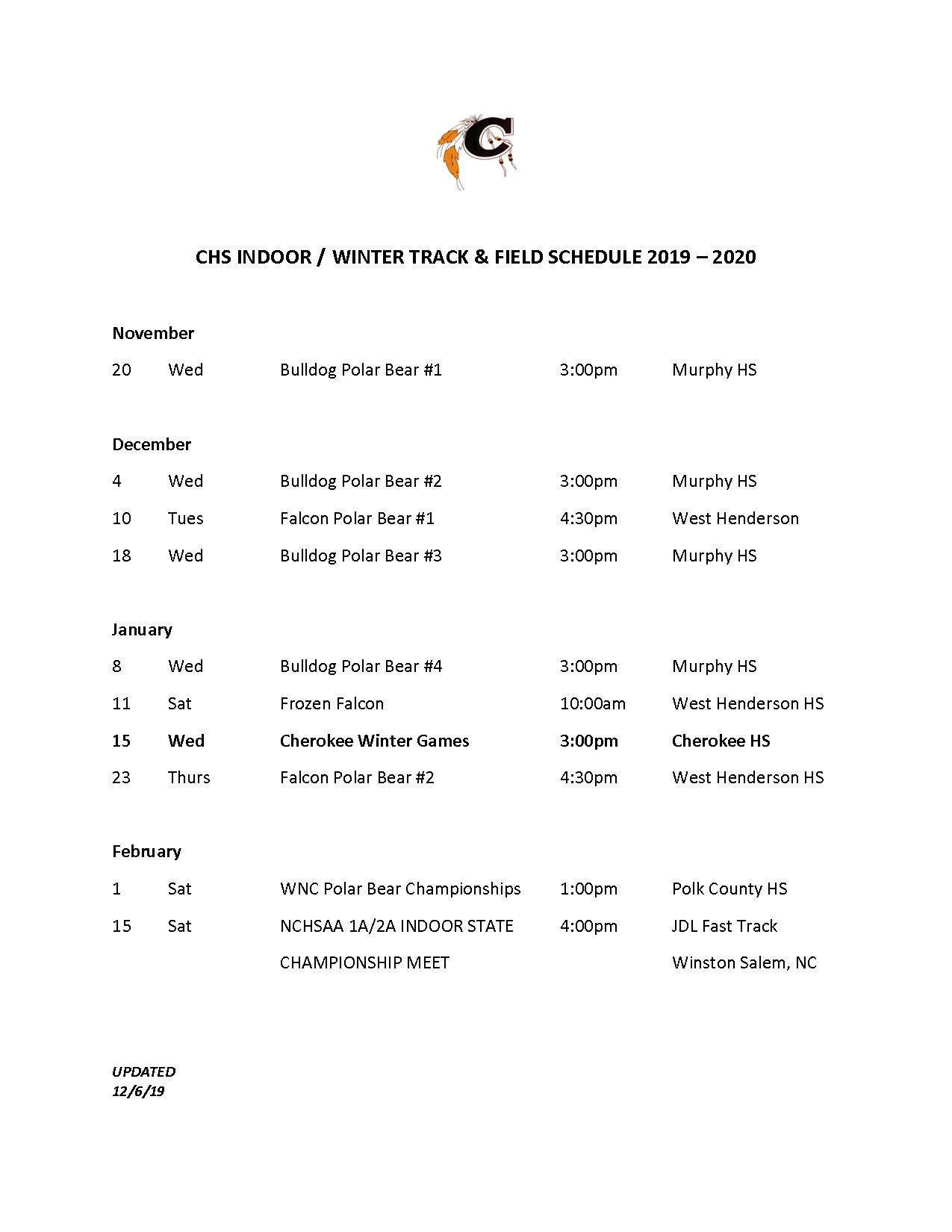 2019-2020 Indoor Track Schedule