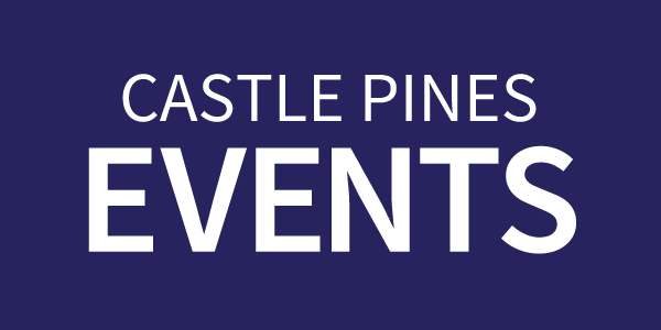 Castle Pines Events text on a dark blue rectangle button