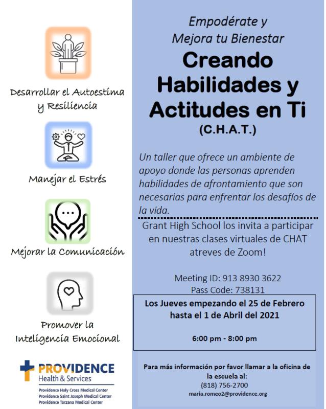 Creando Habilidades y Actitudes en Ti (C.H.A.T.) Featured Photo