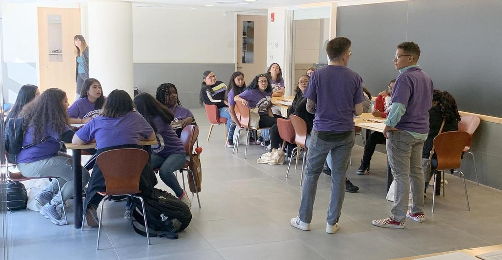 A wide-angle look at EHS students inside a classroom during the Transportation YOU Boston Summit