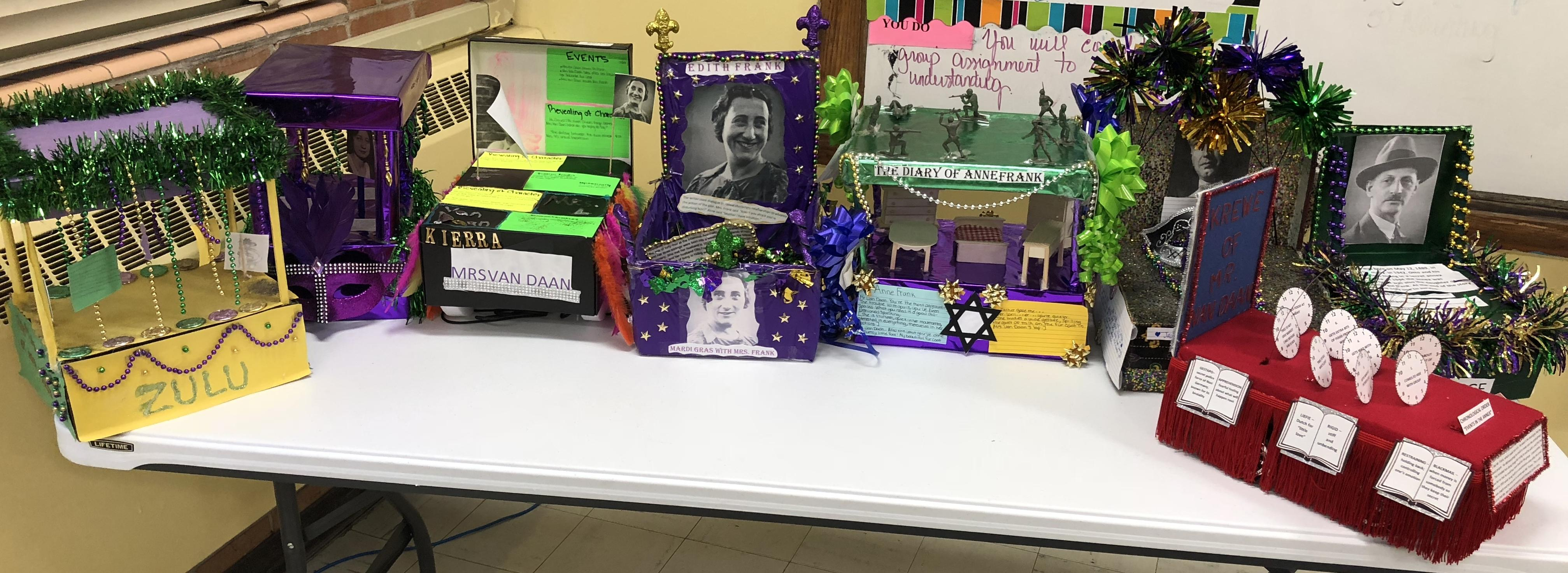 "Photo of Baker Middle School projects related to the study of ""The Diary of Anne Frank"""