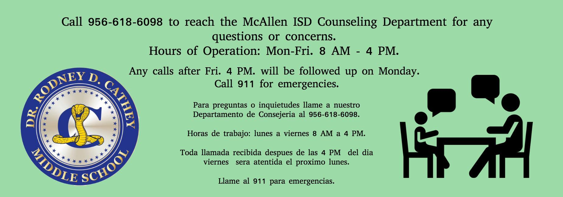 Call Counselors at 956 618 6098