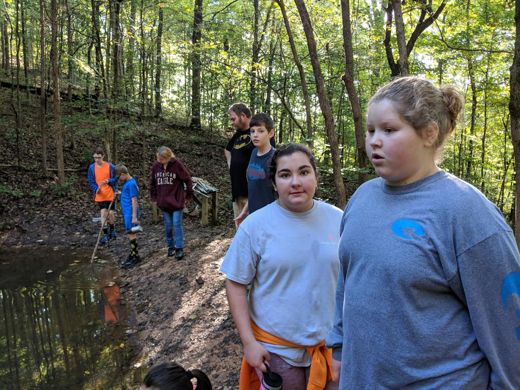 Students standing around the pond at the pond study