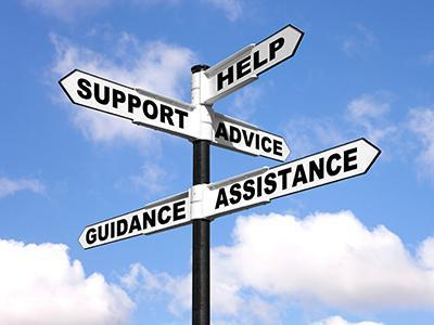 Street signs help, support, advice, guidance and assistance