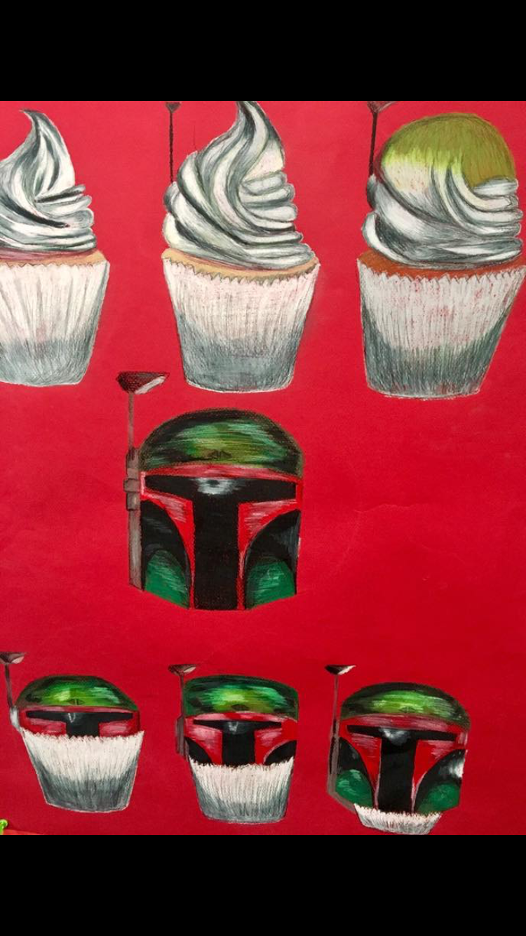 red paper white cupcake changing into StarWars character Bobafet
