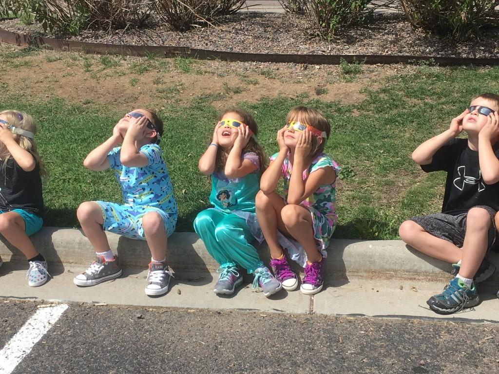 Elementary students watch the Solar Eclipse.