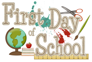Picture that says first day of school and has a globe, a paint brush, books, and scissors.
