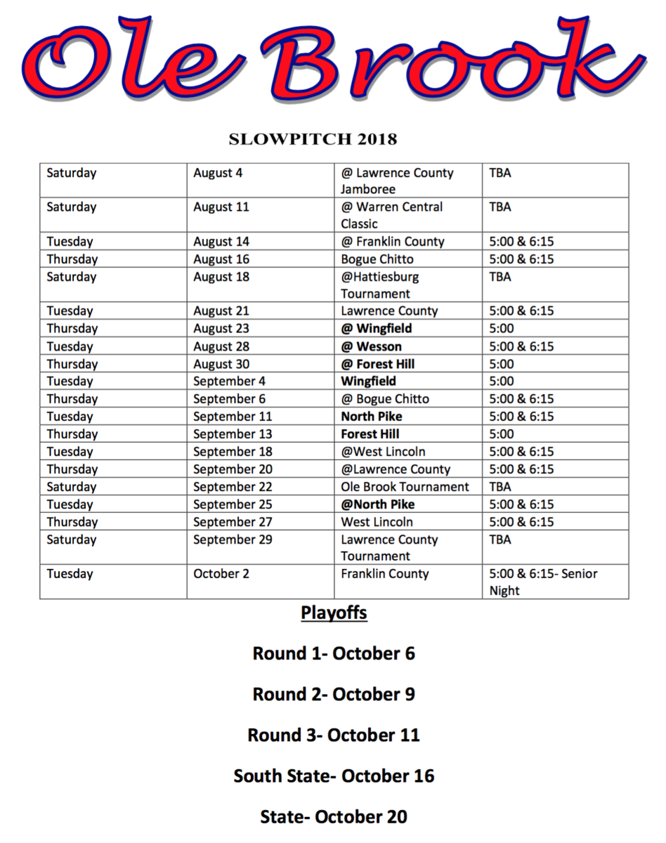 Slow Pitch Schedule