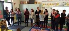 Teachers becoming a Human Number Line to display mastery of their fraction skills.