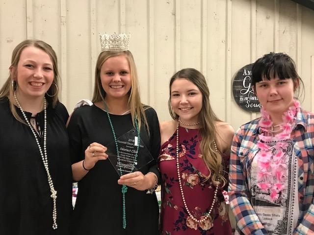 WHS Interact members accepting the Volunteer Group of the Year Award at the Chamber of Commerce Banquet Thursday night, January 31, 2019.