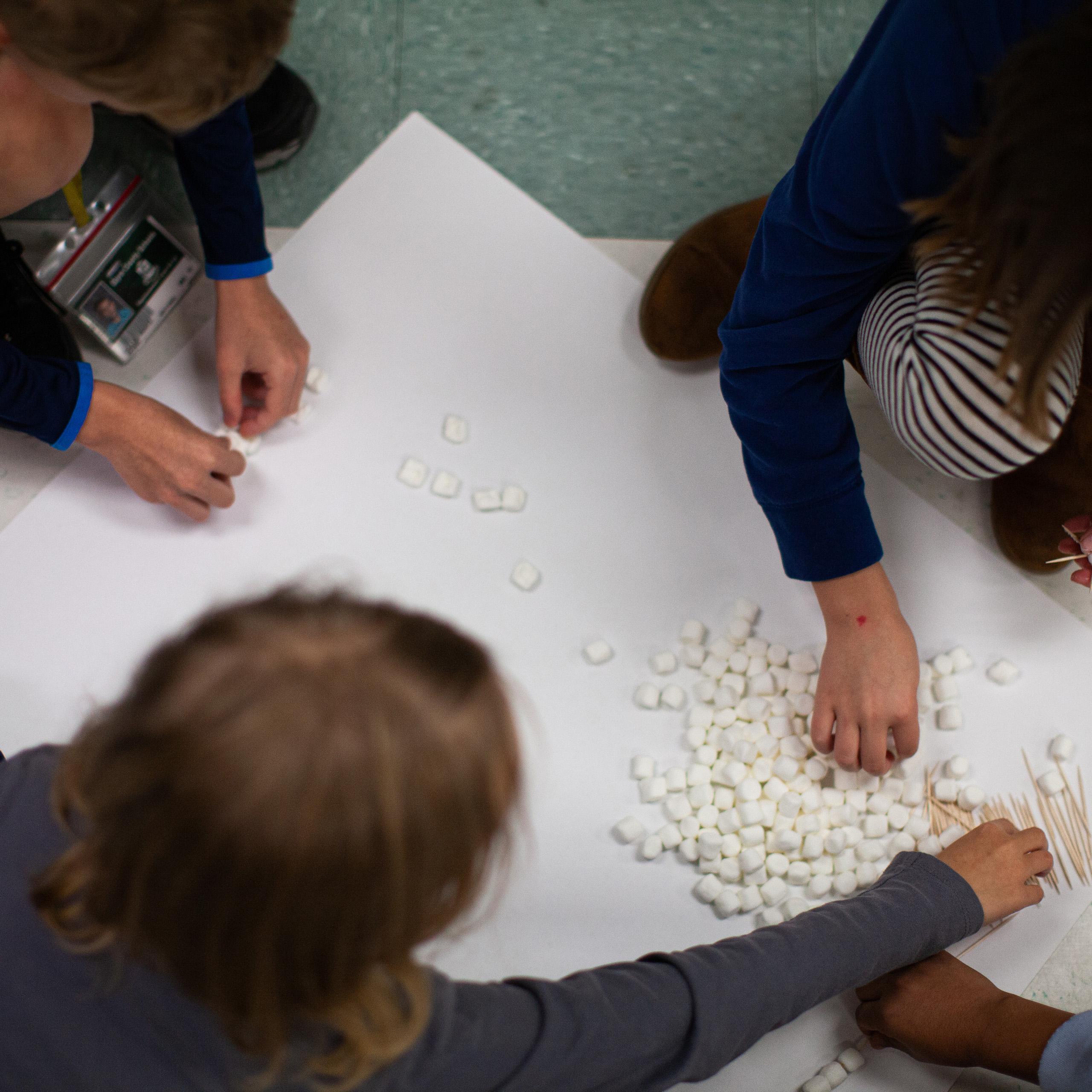 students organize math manipulatives