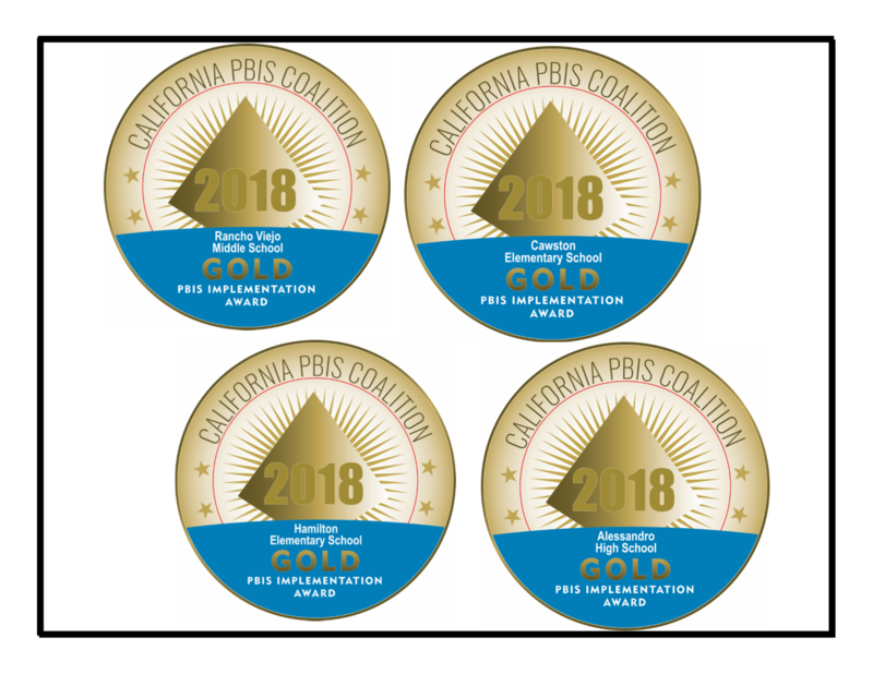 Rancho Viejo, Cawston, Hamilton K-8, and Alessandro's gold medal recognition for PBIS implementation