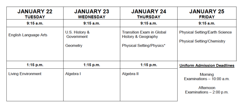 January 2019 Regents Exam Schedule