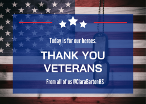 Today is for Heroes. Thank you Veterans. From all of us @ClaraBartonHS