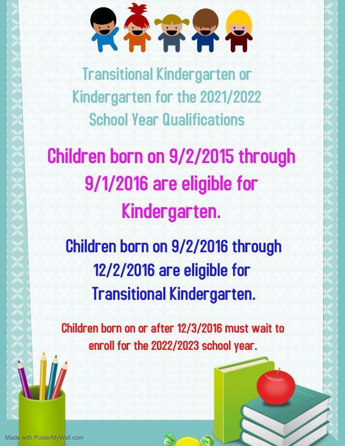 Kindergarten or TK Birthdates