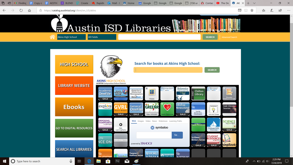 Use the catalog to find books, ebooks, and research resources.