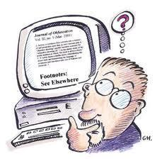 Cartoon Image of Man Researching Websites on a Computer