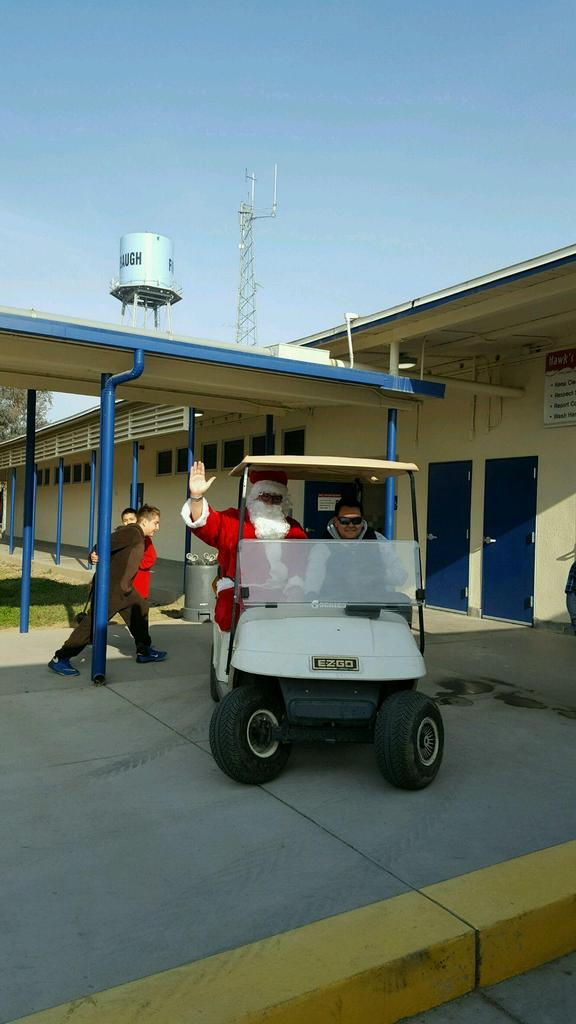 Santa visiting Mills School