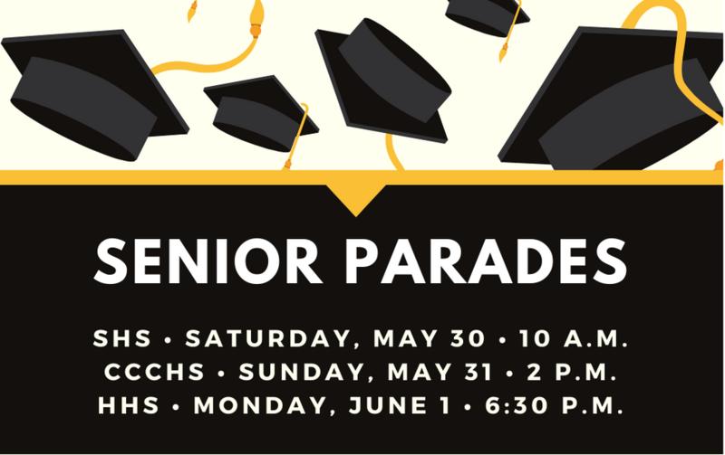 Senior parade schedules, information
