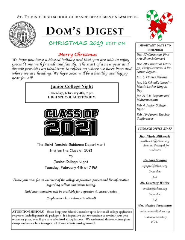Dom's Digest - Guidance Department Newsletter (Christmas 2019 Edition) Featured Photo