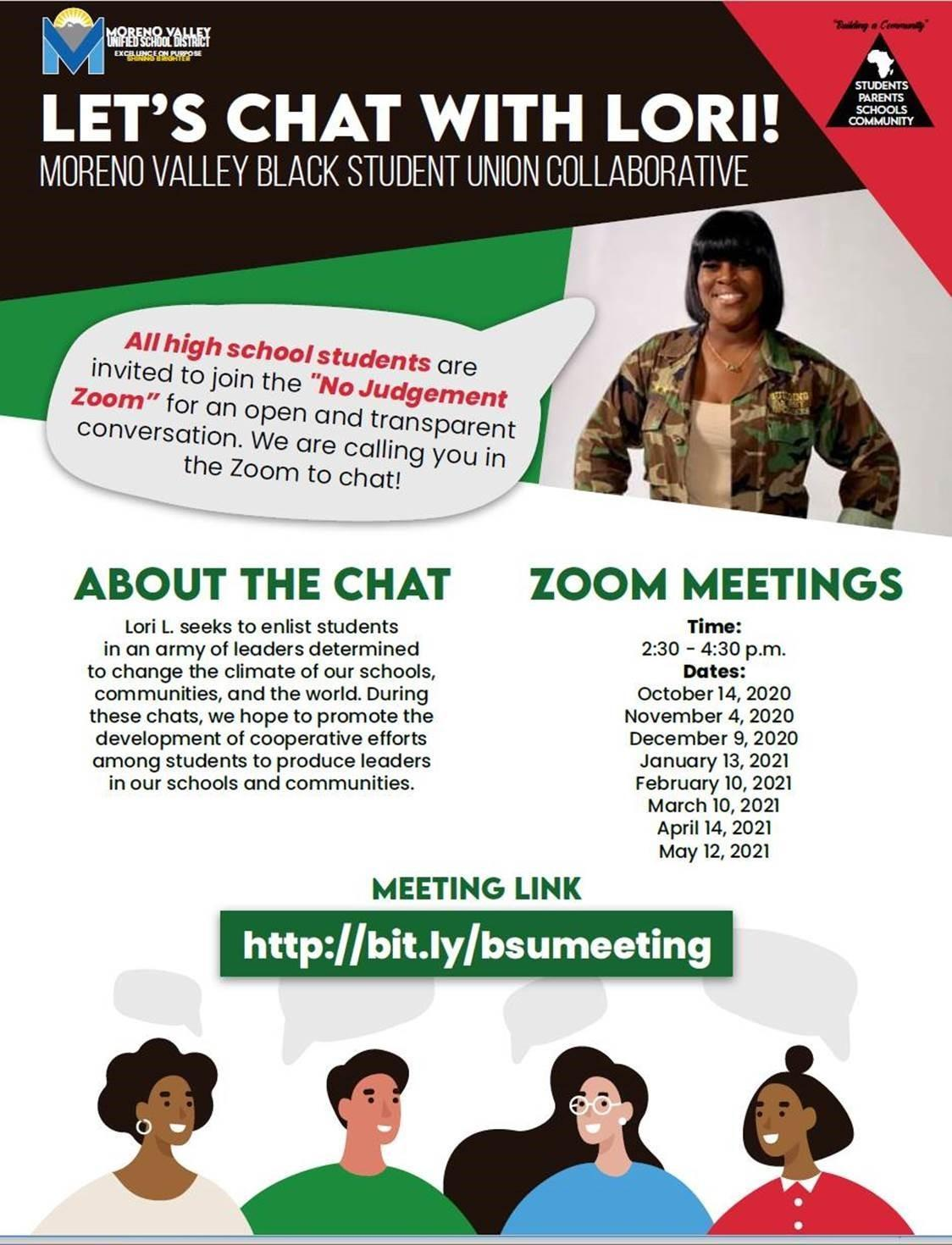 BSU Let's chat with Lori flyer