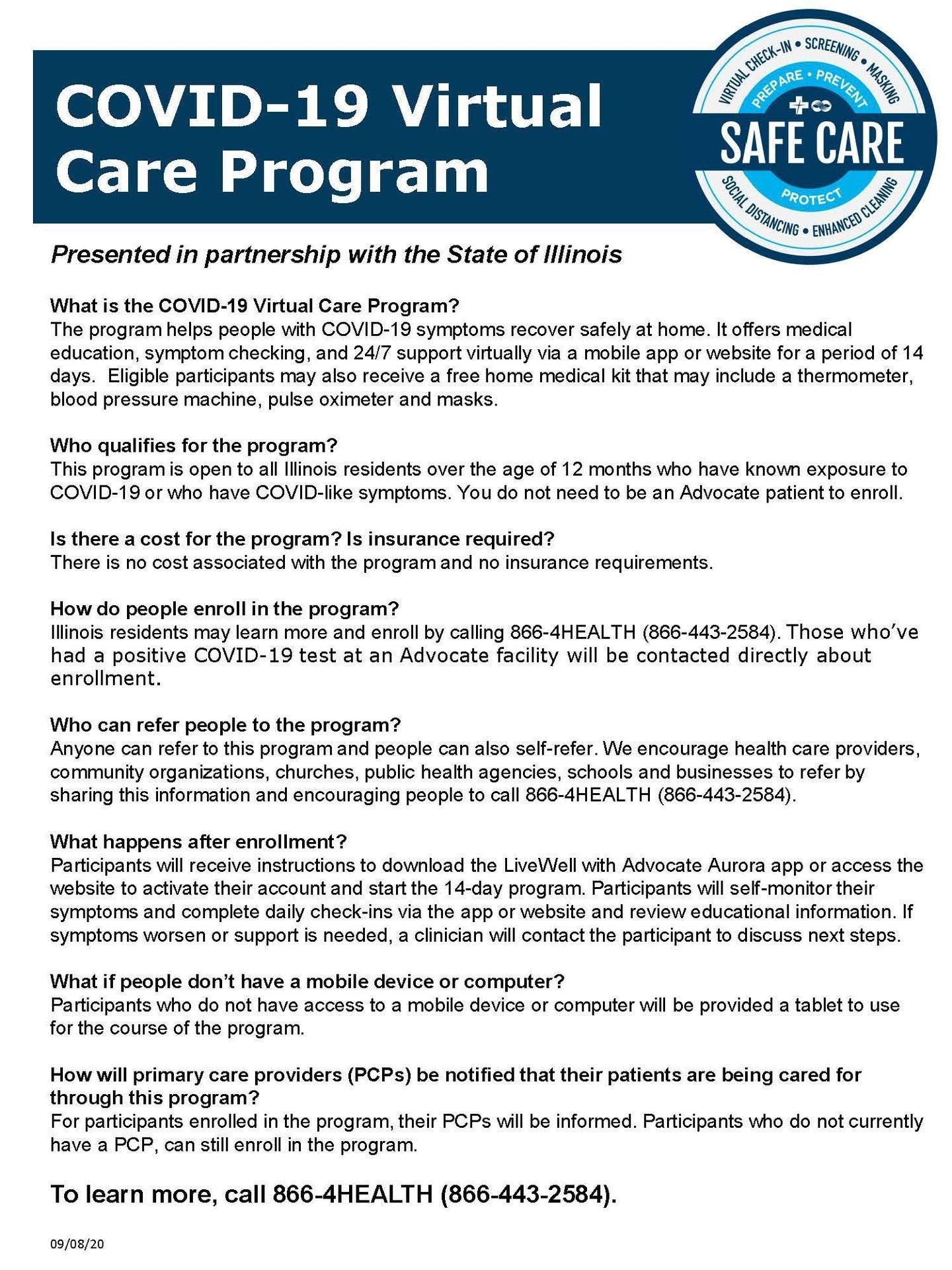 COVID 19 Virtual Care Program FAQs