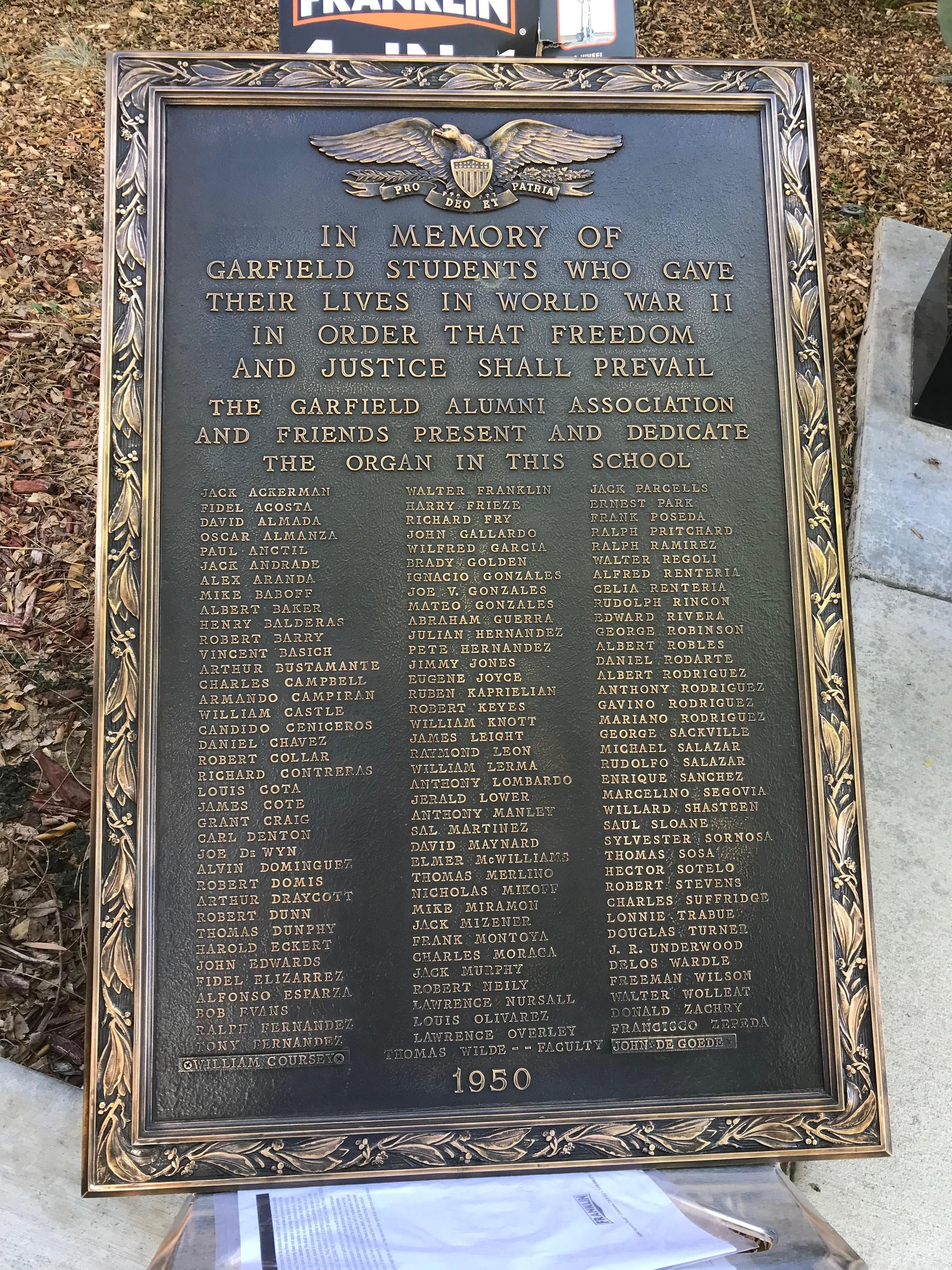 Memorial plaque for the Garfield students who gave their lives in WWII
