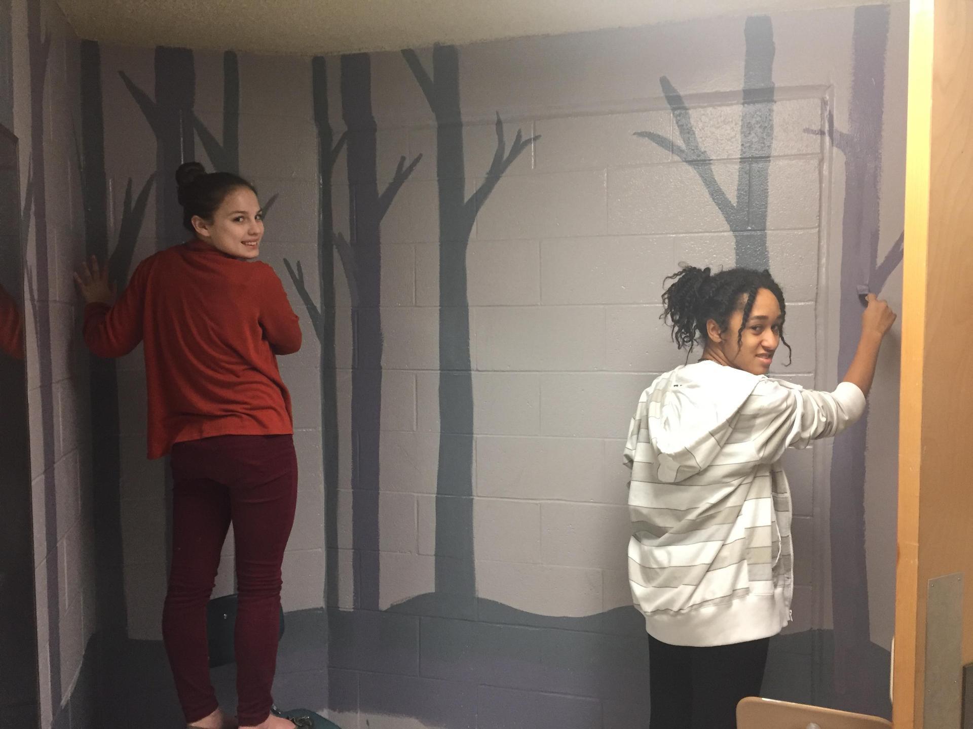 Trees and deer (Maddie Harter, left.  Safiyah Bakari, right).