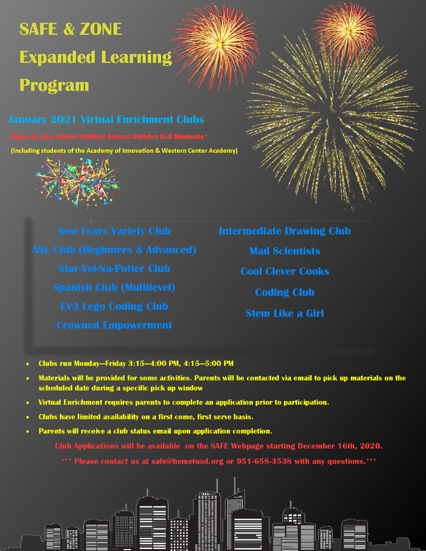 January Enrichment Clubs