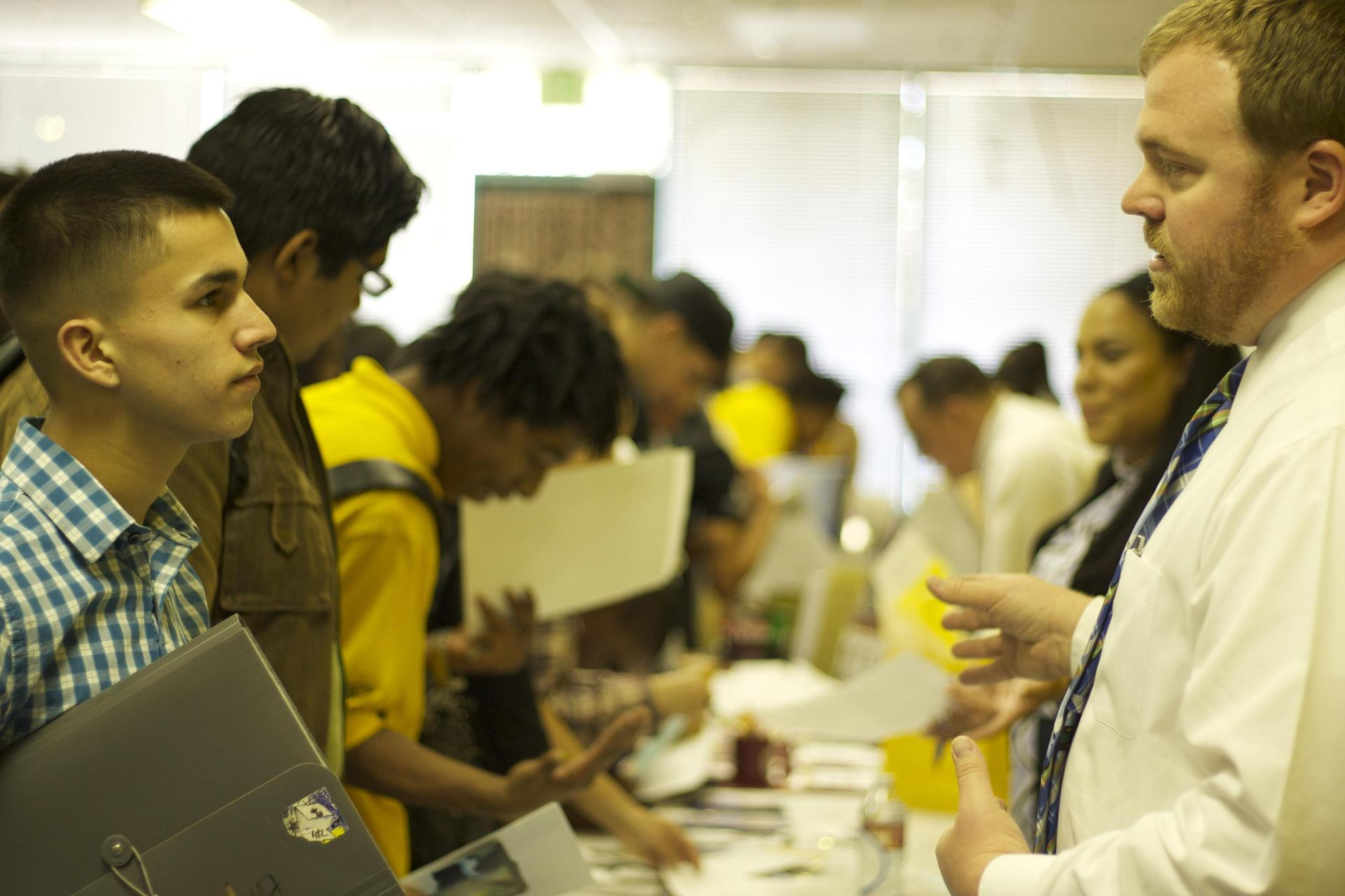 Students at a career day event