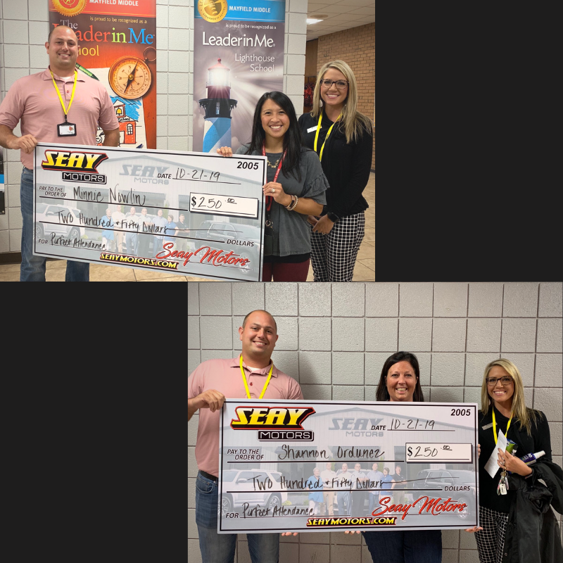 Photo collage of the Seay Motors staff winner Shannon Shannon Ordunez and Minnie Nowlin.  They are pictured with employees of Seay Motors presenting checks.