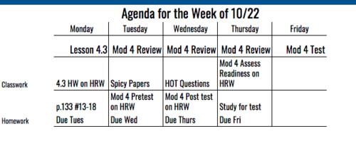 7th Grade Agenda for Week of 10/22