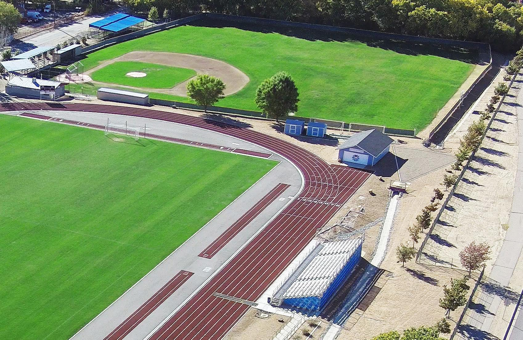 Aerial view of Duran Family Track and Soccer Stadium