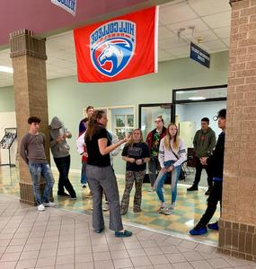 Students touring college