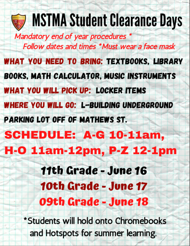 MSTMA Student Clearance Days (Grades 9-11) Featured Photo