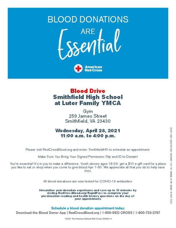 Blood drive at Luter Family YMCA on April 28, 11 am to 4 pm.